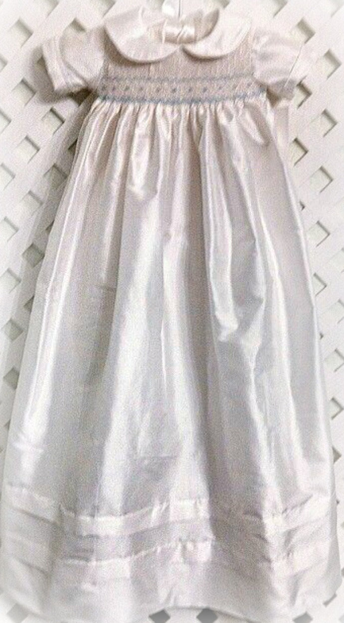 6e6112826 Silk Christening Gown for Boys or Girls by Carrie B Smocking on Zibbet