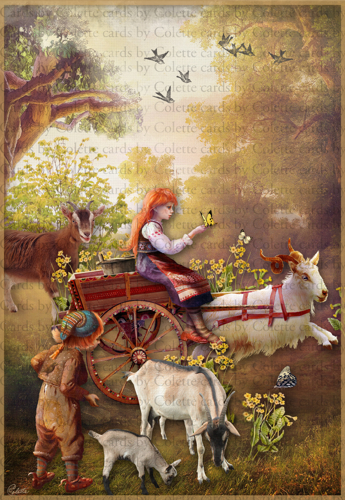 Girl and Goat Cart Digital Collage Greeting Card2153