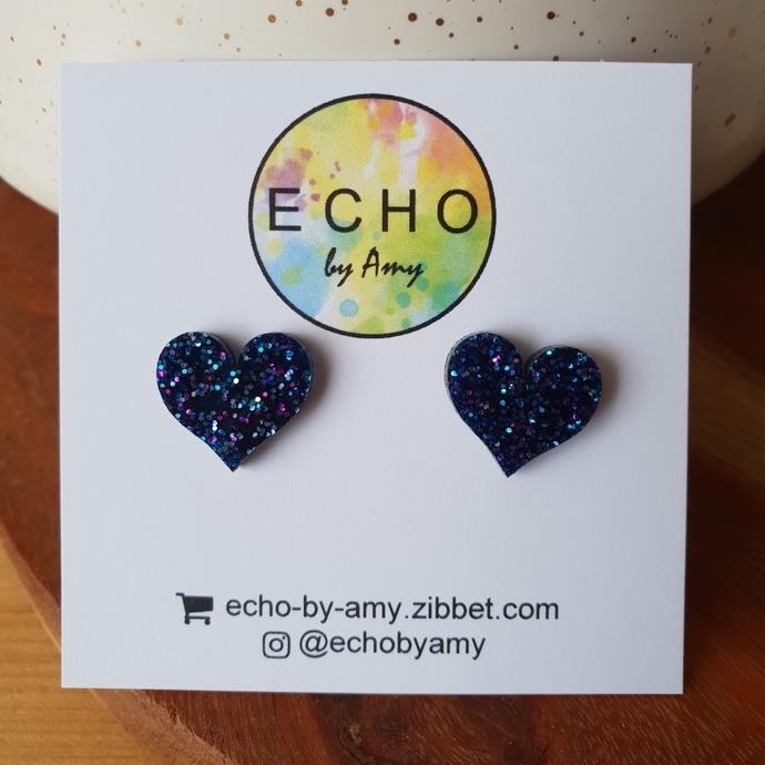 Purple & Blue Glitter Hearts