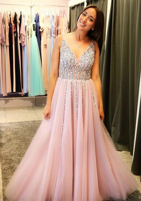 Prom Dress V Neckline, Prom Dresses, Evening Gown, Graduation School Party