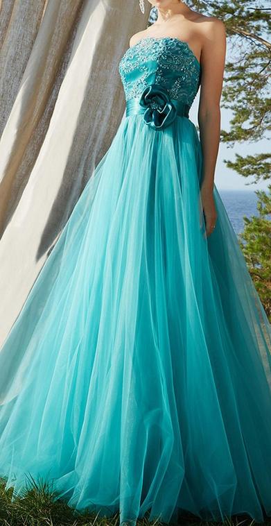 Strapless Blue Tulle Appliques Long Prom Dress, Elegant Formal Evening Dress