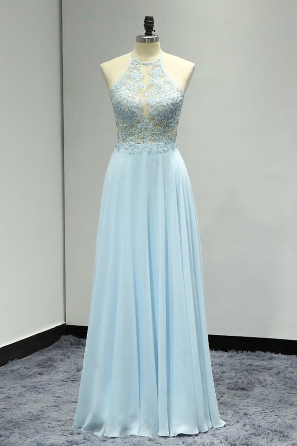 9b494fc76a97d Light Blue Appliques Chiffon Evening Dress, Sexy Backless Halter Long Prom  Dress