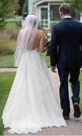 Custom Made Tulle A Line Wedding Dresses With Open Back Bridal Gowns
