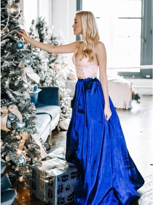 Two Piece Spaghetti Straps Floor-Length Royal Blue Prom Dress with Lace Bodice