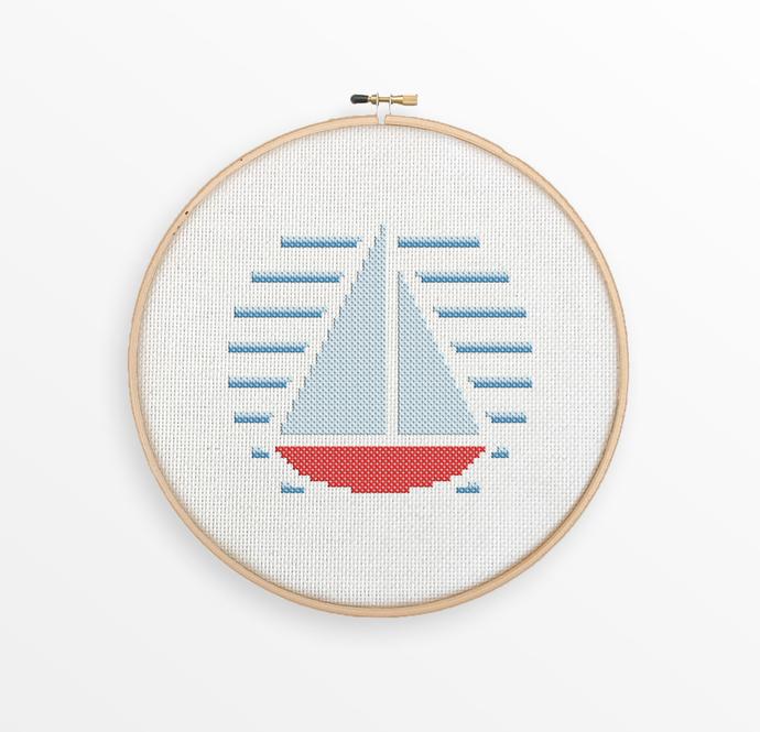 Sailboat - Nautical Cross Stitch Pattern - Nursery Decor