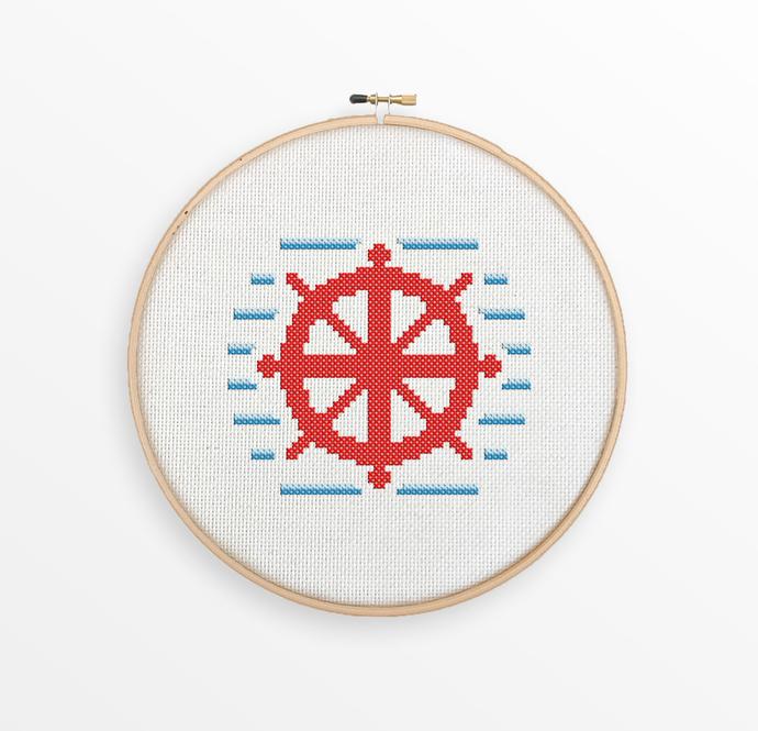 Boat Wheel - Nautical Cross Stitch Pattern - Nursery Decor