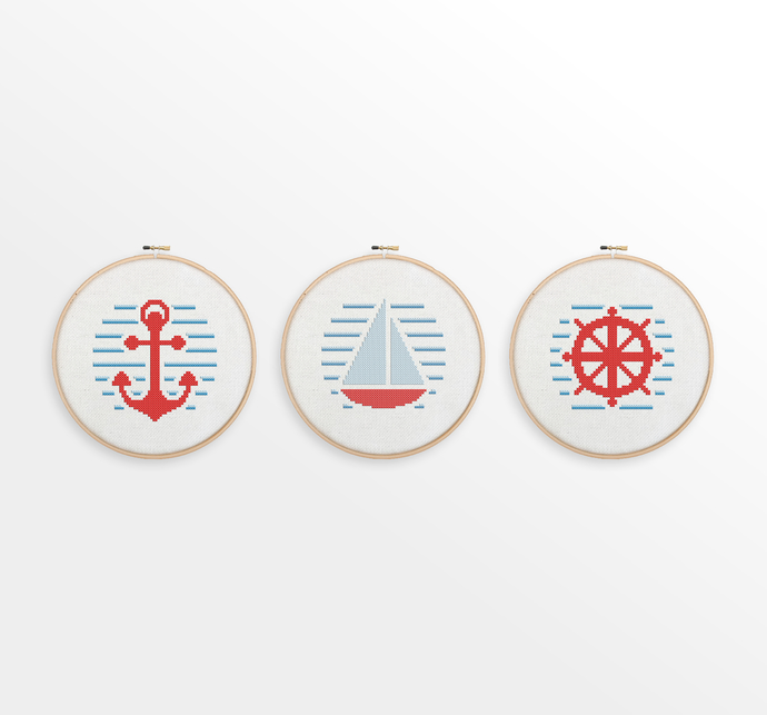 Nautical Cross Stitch Pattern Set - Anchor, Sailboat, Ship Wheel - Nursery Decor