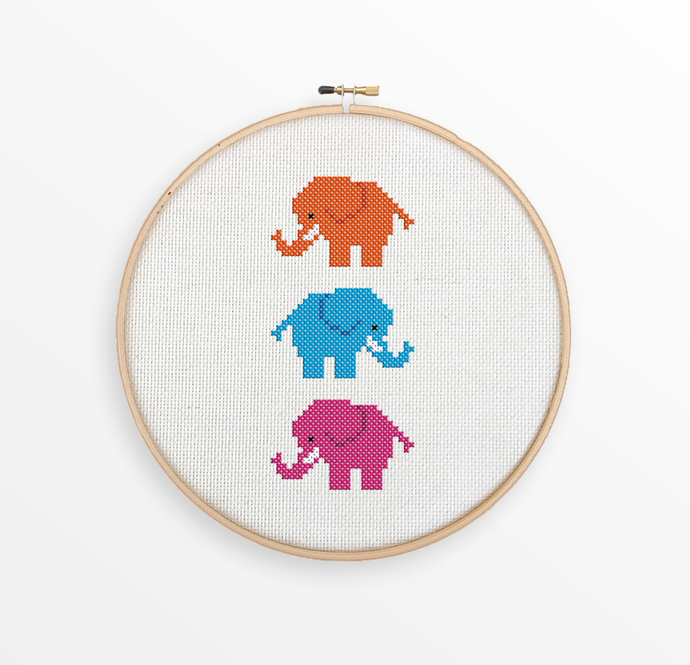 Cute Elephants Cross Stitch Pattern - Bright & Colorful Child's Room Decor