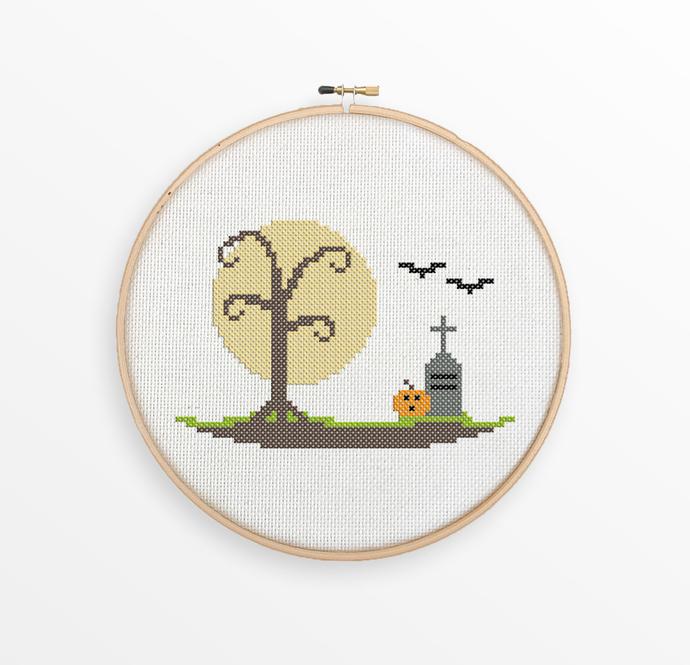 Halloween Scene Cross Stitch Pattern - Pumpkin, Bats, Graveyard