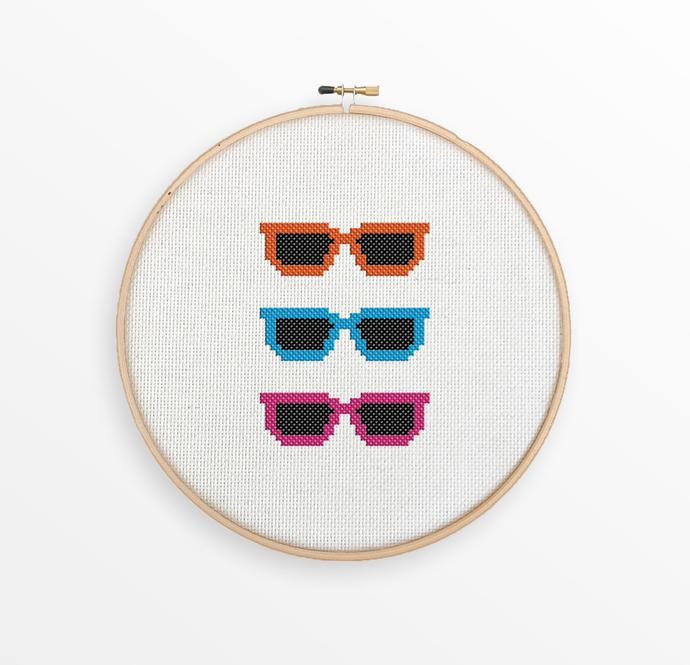 Hipster Sunglasses Cross Stitch Pattern - Modern Xstitch