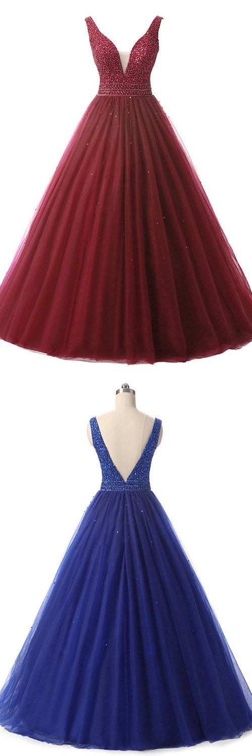 Burgundy Backless Ball Gown Prom Dresses, V-neck Formal Dresses Long,Tulle