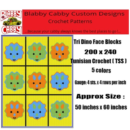 TRI DINO FACE BLOCKS THROW 200 X 240 TSS,  GRAPH AND WRITTEN INSTRUCTIONS