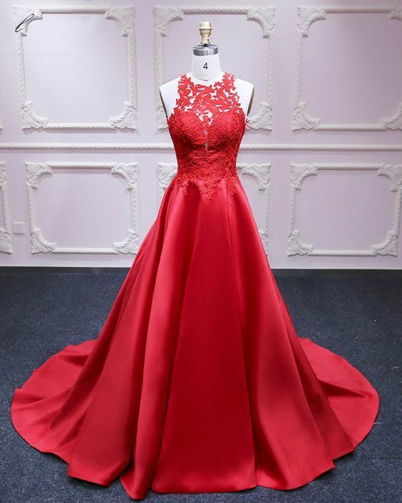 Red Satin Prom Dresses,Formal Dress,A-line Prom Dress, Lace Appliques Evening