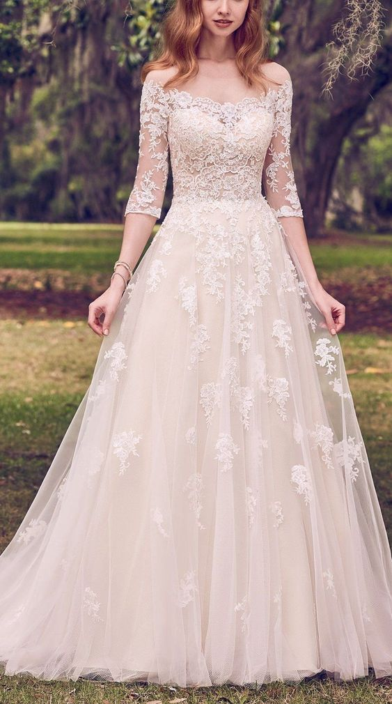 Wedding Dress With Sleeves.Lace White Wedding Dress Half Sleeves Appliques Bridal Dress Romantic Wedding Gown