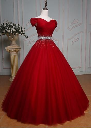 Off Shoulder Red Prom Dressesball Gown By Prom Dresses On Zibbet