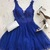 v-neck royal blue short homecoming dresses,prom dress with appliques, Prom