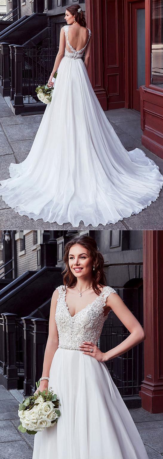 Chiffon V-neck Weeding Dress, Neckline Natural Waistline Wedding Dresses,A-line