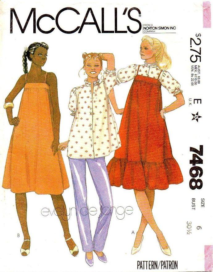 be7c16e1ba7c9 McCall's 7468 Misses Maternity Jumper, Sundress, Blouse, Pants 80s Vintage