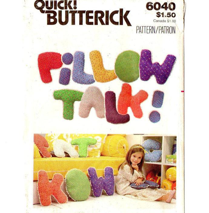 Butterick 6040 Pillow Talk 70s Vintage Sewing Pattern UNCUT Initial, Letter