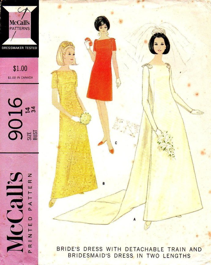 McCall's 9016 Misses Brides Dress, Train 60s Vintage Sewing Pattern Size 14 Bust