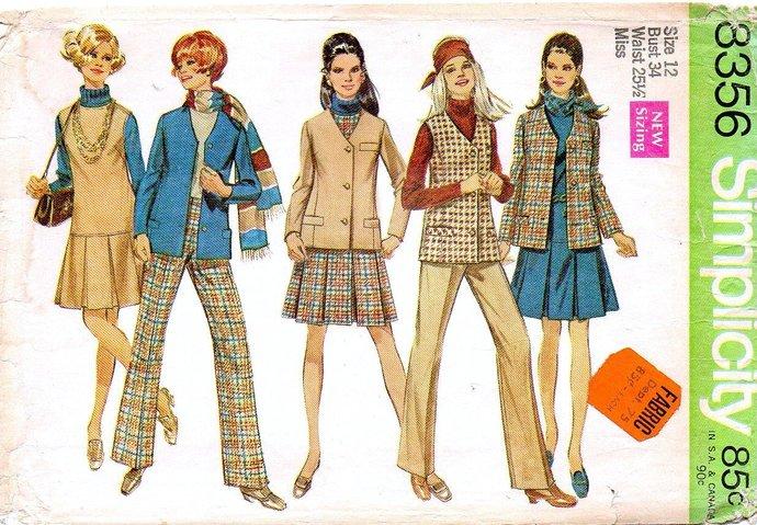 Simplicity 8356 Misses Jacket Vest Jumper Pants 60s Vintage Sewing Pattern Uncut