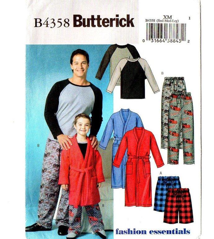 Butterick 4358 Men's Robe, Belt, Pajamas Sleepwear Sewing Pattern UNCUT Size S,