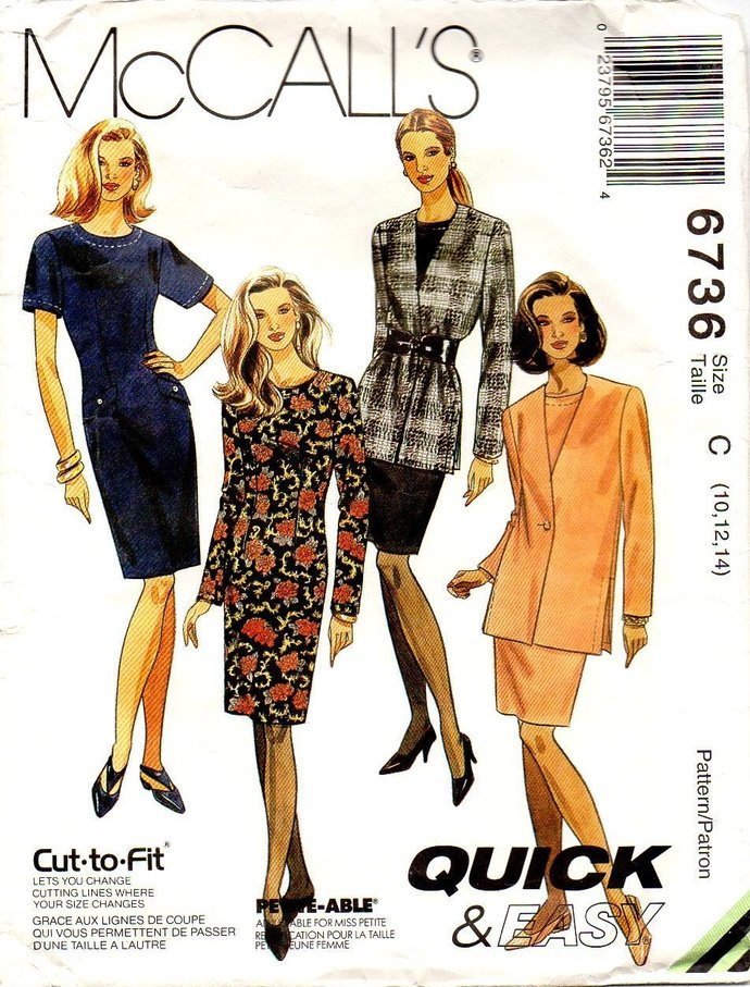 McCall's 6736 Misses Basic Dress, Jacket Vintage Sewing Pattern Size 10 Bust 32