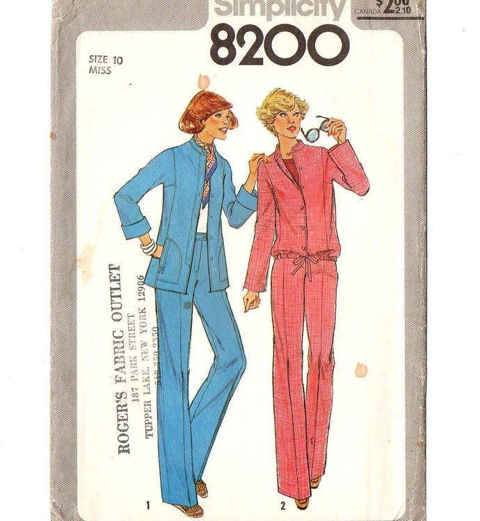 Simplicity 8200 Misses Jacket Pants 70s Vintage Sewing Pattern Size 10 Bust 32