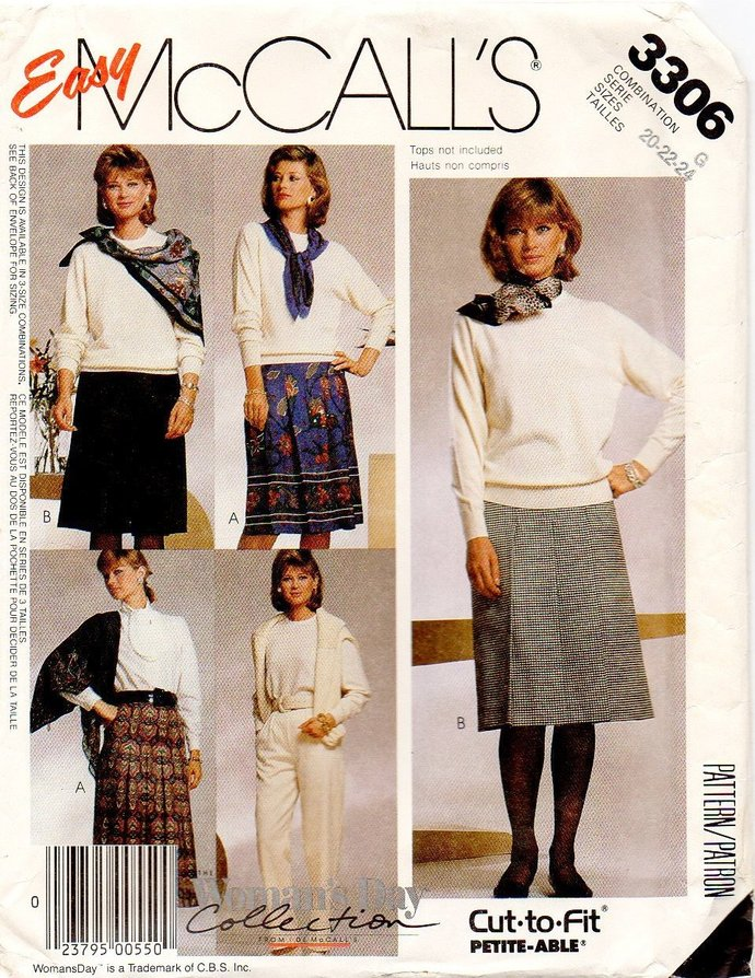 McCall's 3306 Misses Skirt, Pants Sewing Pattern Size 20, 22, 24 UNCUT Woman's