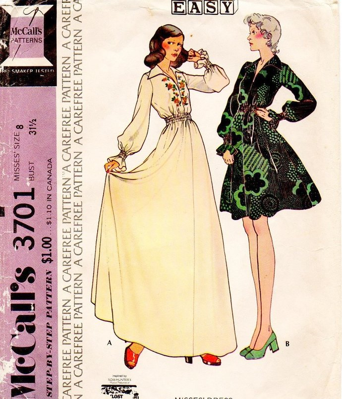 McCall's 3701 Misses Maxi Mini Dress 70s Vintage Sewing Pattern Size 8 Full