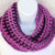 Infinity Moebius Scarf, spiral crocheted in Dusky Rose color stripes brushed