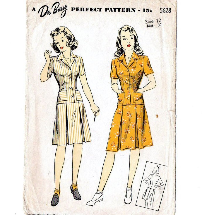Du Barry 5628 Misses Shirt, Skirt 40s Vintage Sewing Pattern Size 12 Bust 30