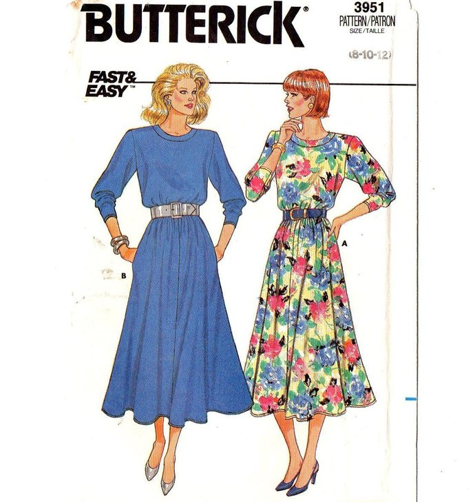 Butterick 3951 Misses Flared Knit Dress 80s Vintage Sewing Pattern Uncut Size 8,