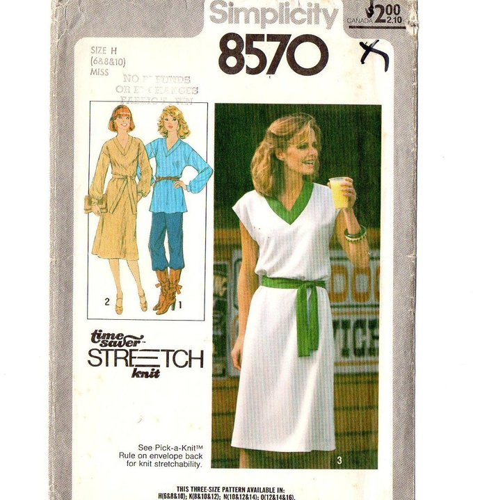 Simplicity 8570 Misses Knit Dress, Tunic 70s Vintage Sewing Pattern Uncut Size