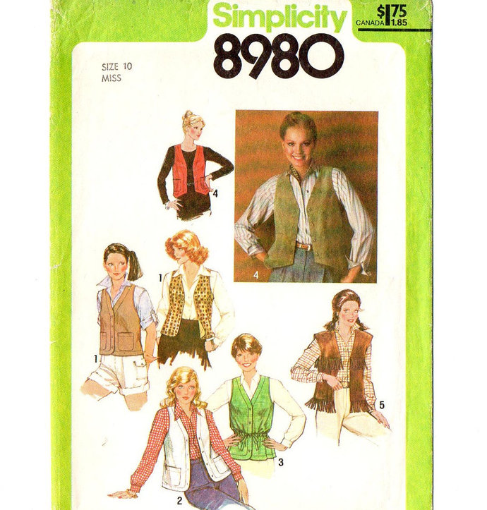 Simplicity 8980 Misses Set of Vests 70s Vintage Sewing Pattern Uncut Size 10