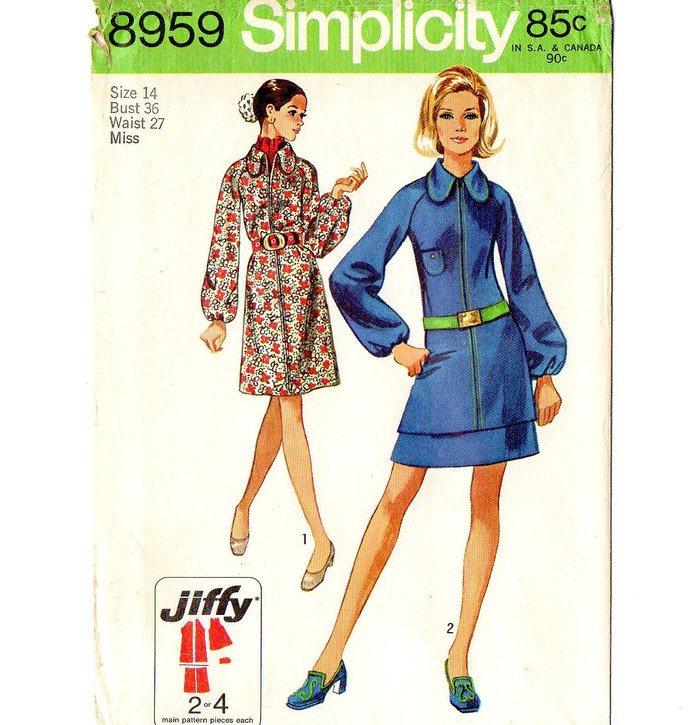 Simplicity 8959 Misses Dress, Tunic, Skirt 70s Vintage Sewing Pattern Uncut Size