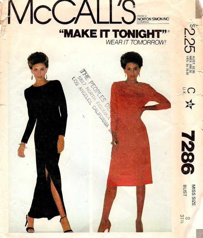 McCall's 7286 Misses Pullover Dress Vintage Sewing Pattern Size 8 Bust 31 1/2