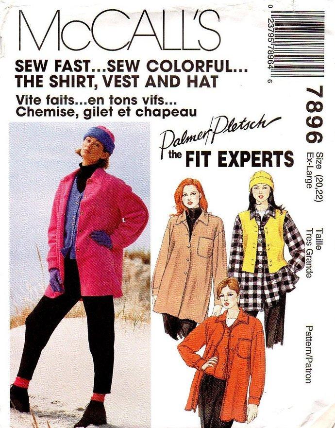 McCall's 7896 Misses Shirt Jacket, Vest, Hat 90s Vintage Sewing Pattern Size