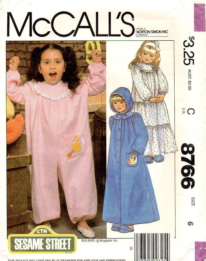 McCall's 8766 Girls Nightgown, Hooded Robe, Jumpsuit  80s Vintage Sewing Pattern