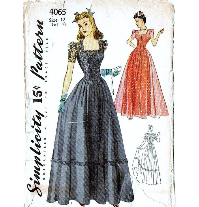 Simplicity 4065 Formal Gown 40s Vintage Sewing Pattern Uncut Size 12 Bust 30