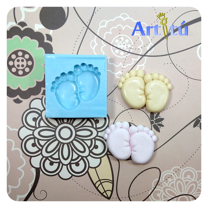 Original handmade baby feet silicone mold, three different types available, for
