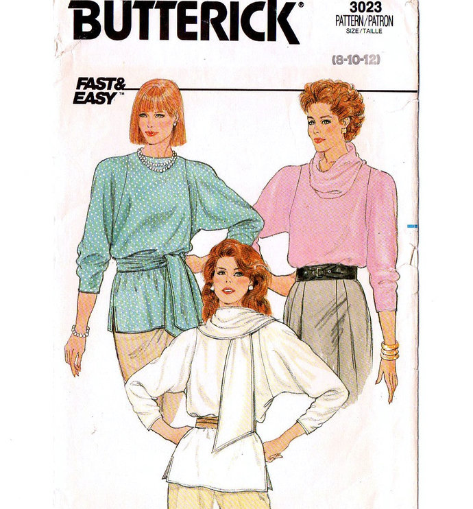 Butterick 3023 Misses Blouse Top 80s Vintage Sewing Pattern Size 8, 10 Bust 31