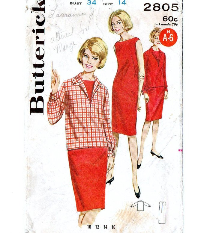 Butterick 2805 Misses Shift Dress Overblouse 60s Vintage Sewing Pattern Size 14