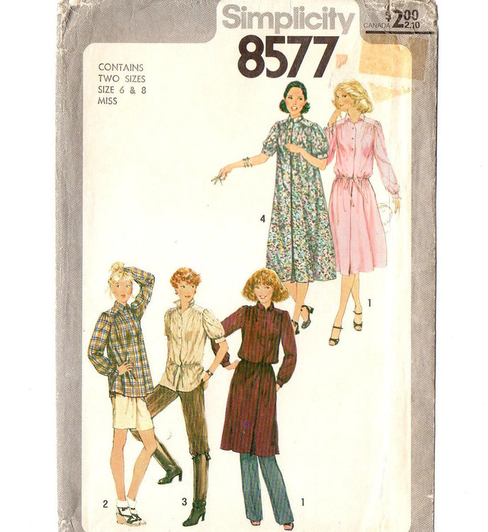 Simplicity 8577 Misses Dress, Tunic 70s Vintage Sewing Pattern Uncut Size 6, 8