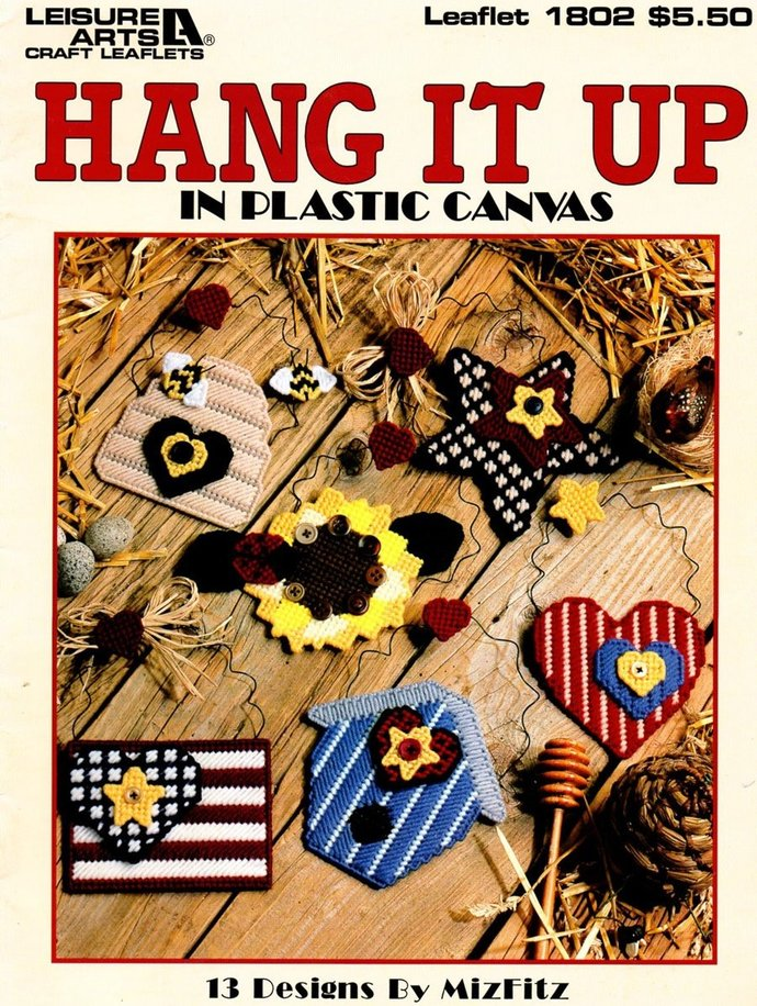 Hang It Up Plastic Canvas Patterns 90s Leisure Arts Leaflet 1802 Country Motifs