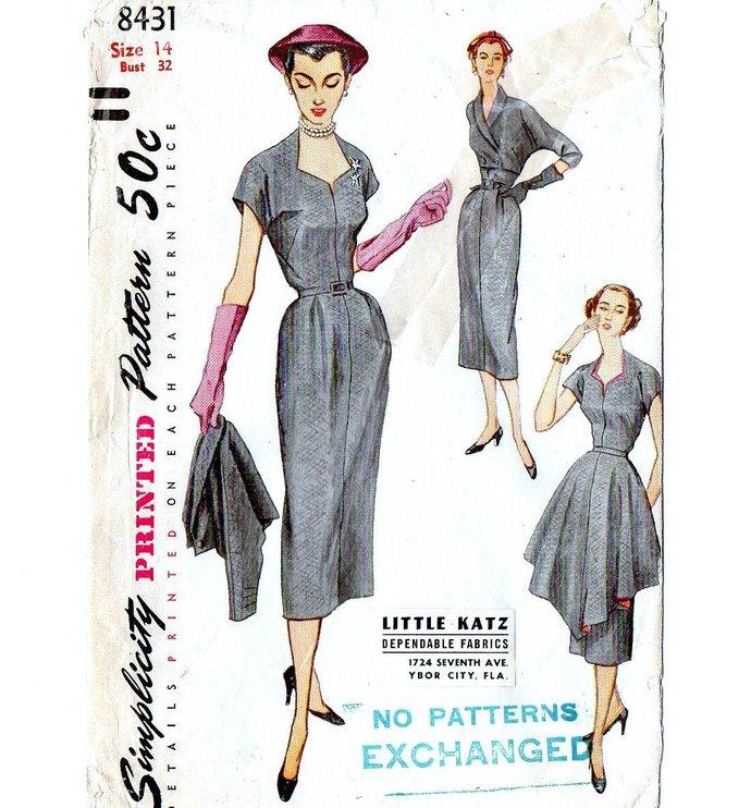 Simplicity 8431 Misses Cocktail Dress, Bolero, Apron 50s Vintage Sewing Pattern