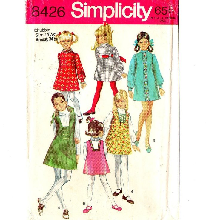 Simplicity 8426 Girls Dress, Jumper 60s Vintage Sewing Pattern Chubbie Size 14