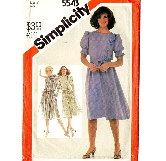 Simplicity 5543 Misses Asymmetrical Dress 80s Vintage Sewing Pattern Size 8 Bust