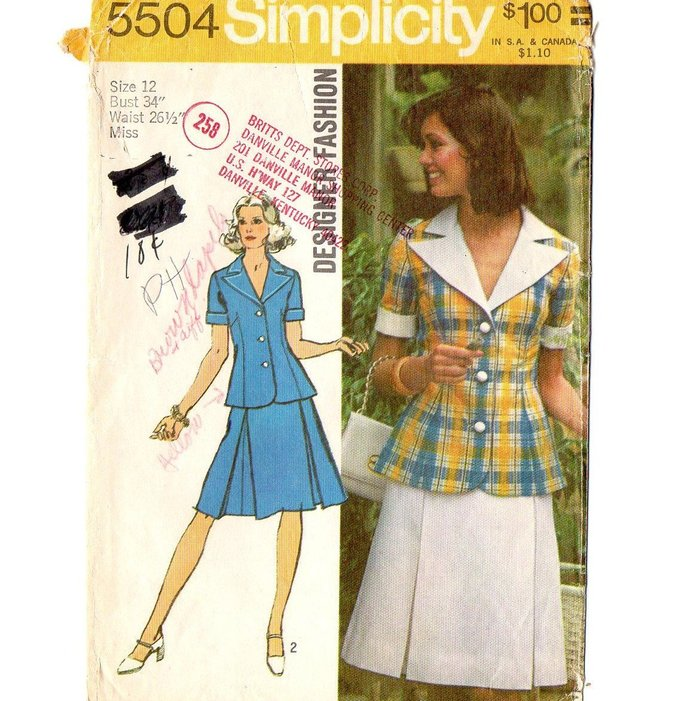 Simplicity 5504 Misses Two Piece Dress 70s Vintage Sewing Pattern Size 12 Bust