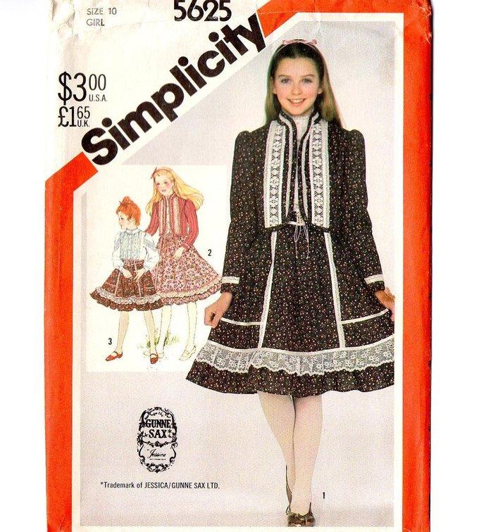 Simplicity 5625 Girls Gunne Sax Quilted Jacket, Ruffled Blouse, Skirt 80s